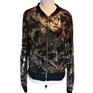 """""""UK2LA"""" Camo Look Sequinned Bomber Style Jacket."""